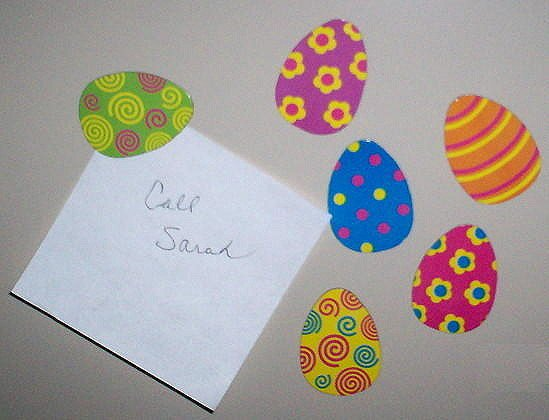 NEW EASTER EGG MAGNETS 12 Pc Set Spring Holiday Kitchen Magnetic Colored Eggs