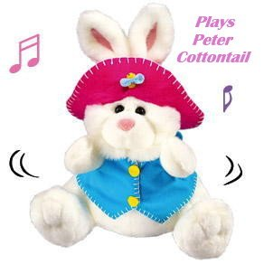 NEW CHILDRENS WHITE MUSICAL EASTER BUNNY TOY Kids Holiday Movable Rabbit Peter Cottentail Music Tune