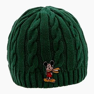NEW DISNEY MICKEY MOUSE GREEN HAT Adult Size Winter Warmth MEN/WOMEN Knitted Cable Style Cap
