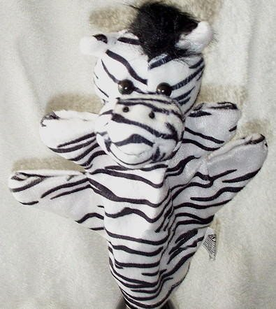 BLACK & WHITE ZOO ANIMAL PUPPET ZEBRA Kids Stripe Velour Safari CHILDREN'S Theater Hand Toy