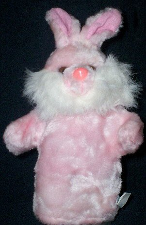 PRETTY PINK BUNNY Soft PLUSH PUPPET Kids Rabbit CHILDREN'S Theater Play Hand Toy