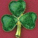 NEW GREEN & GOLDTONE SHAMROCK PIN ST PATRICK'S DAY 3 Sparkling Clovers Saint Pat's Irish Holiday
