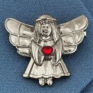 NEW PEWTERTONE ANGEL RED GEMSTONE HEART PIN 1.25 Inches Winged Guardian Lapel Brooch