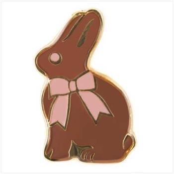 NEW EASTER BUNNY & PINK RIBBON BOW PIN Spring Holiday Lapel Enamel Rabbit Brooch 1 Inch Length
