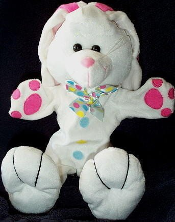 "PLUSH WHITE BUNNY CHILDRENS PUPPET NEW 15-½"" Kids Rabbit Hand Show Play Toy"