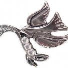 NEW DOVE PEACE with OLIVE TREE BRANCH RHODIUM PLATED PIN 3 Genuine Clear Crystals Lapel Brooch