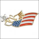 NEW JULY 4TH PATRIOTIC FLAG ANGEL PIN American Red White & Blue Holiday Lapel Brooch & Clear Crystal