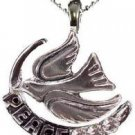 "NEW DOVE PEACE with OLIVE TREE BRANCH RHODIUM PLATED NECKLACE 3 Genuine Clear Crystals 15"" Chain"