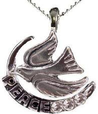 """NEW DOVE PEACE with OLIVE TREE BRANCH RHODIUM PLATED NECKLACE 3 Genuine Clear Crystals 15"""" Chain"""