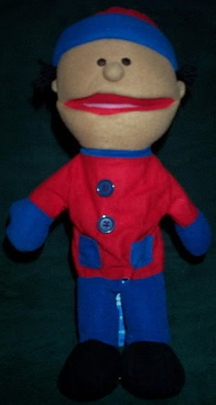 NEW BOY PUPPET WINTER RED COAT BLUE PANTS & CAP Whole Body Children Theater Toy