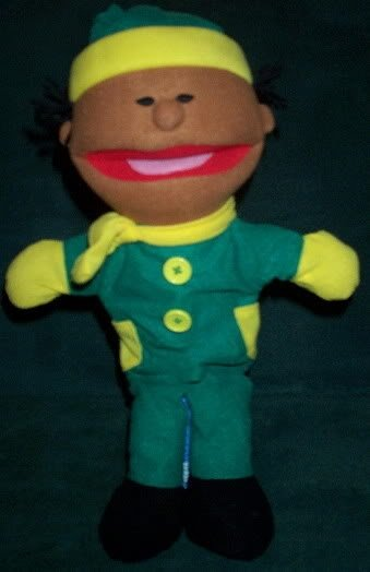 NEW BOY PUPPET WINTER GREEN OUTFIT YELLOW SCARF & MITTENS Whole Body Children's Hand Toy