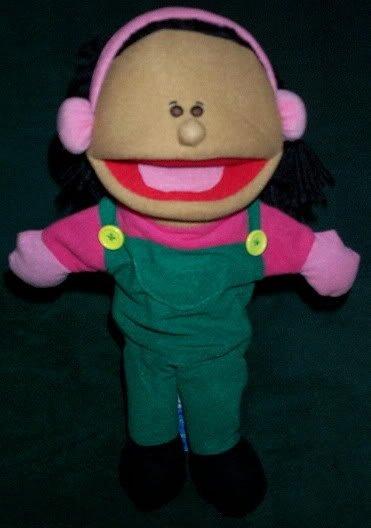 NEW WINTER GIRL PUPPET w/Braids Green Overalls Bibs Pink Top & EarmuffsChildren Whole Body Toy
