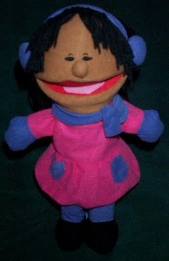 NEW WINTER GIRL PUPPET Pink Dress Purple Scarf Mittens & Earmuffs Children's Hand Toy