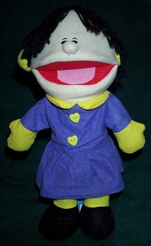 NEW WINTER GIRL PUPPET Purple Dress Yellow Mittens & Earmuffs Children's Hand Acting Toy