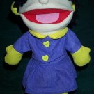 NEW WINTER GIRL PUPPET Purple Dress Yellow Mittens & Earmuffs Children's Hand Acting Toy