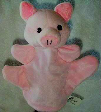 SOFT FARM ANIMAL PUPPET PIG/PIGLET/PIGGY NEW Kids Velour CHILDREN'S Theater Play Hand Toy
