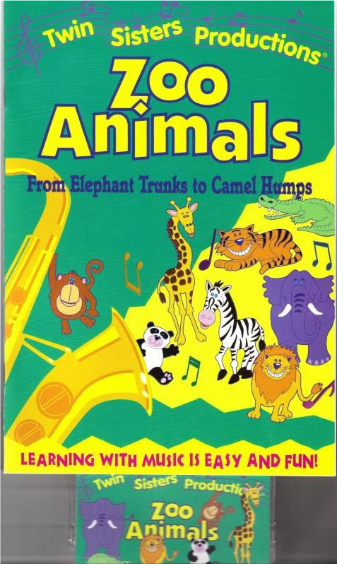 TWIN SISTERS ZOO ANIMALS Book Cassette Kids 2 pc Set