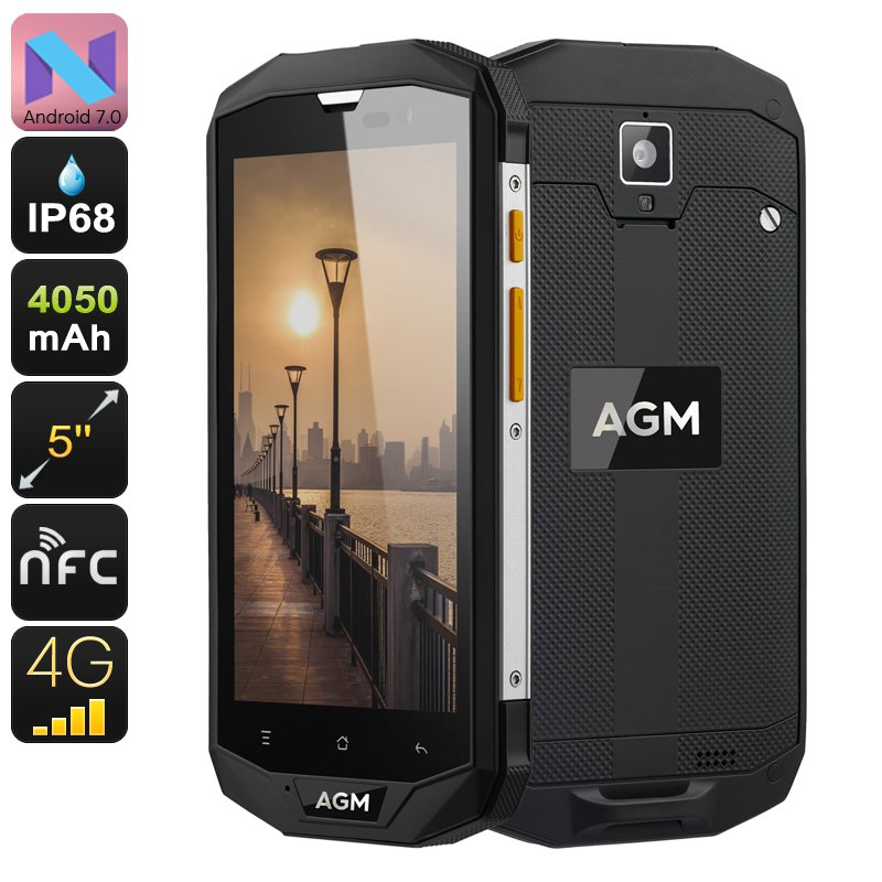 AGM A8 Rugged Android Phone - Android 7.0, Dual IMEI, 4G, Quad-Core CPU, 3GB RAM, 5 Inch IPS Display