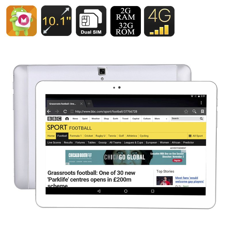 10.1 Inch Android Tablet - Android 6.0, 4G, OTG, Dual-IMEI, 32GB Memory, Quad-Core CPU