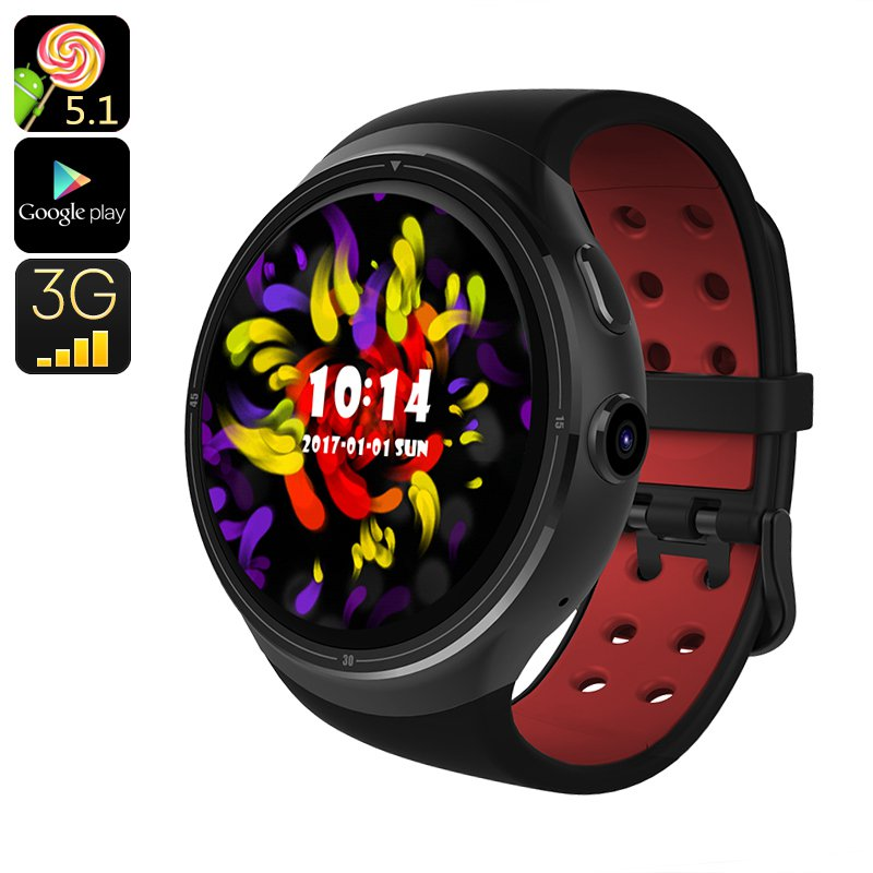 Z10 Android Smart Watch - Android 5.1, 3G SIM, Quad Core CPU, Google Play, OK Google (Black)