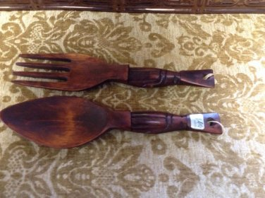 Vtg MCM wood hawaiian tiki totem spoon fork alii hawaii