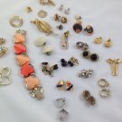 vintage clip-on earrings pins lot jewelry mid century