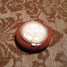 mid century teak compact mirror powder makeup container Hawaiian USA