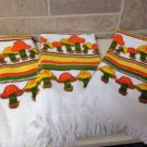 3 Vtg Mcm 70S Kitchen Terry Hand Towels Mushroom Retro Nos Usa
