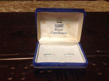 Royal Copenhagen blue velvet replacement cuff link box tie tack vtg replacement