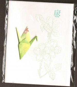 Green Flowers Crane (Get Well)