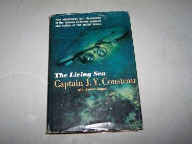 the living sea captain j. y. cousteau 1963 fist edition hc book w jacket