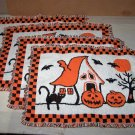 haunted house halloween tapestry placemat lot of 4 used