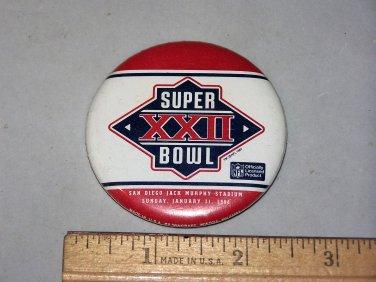 super bowl xxii button super bowl 22 1988 button