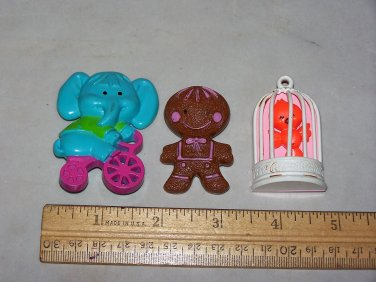 gingerbread man elephant and bird in cage 1975 avon pins lot