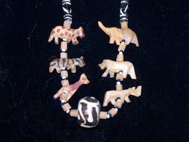wooden hand carved animal necklace