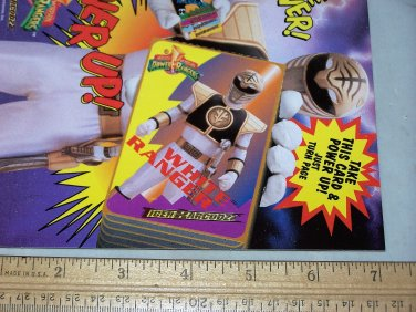 power rangers white ranger card unpunched 1994 tiger barcodzz card