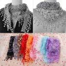 Fashion Women Lace Sheer Floral Print Triangle Veil Scarf Shawl Wrap Tassel HC