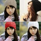 Fashion Women Warm Winter Beret Braided Baggy Beanie Crochet knitting Hat HC