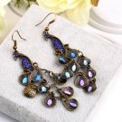 Women Bohemian Style Lady Long Pendant Vintage Retro Blue Peacock Earrings HC