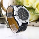 Large dial Watch Face Wide Band Men Boy Wristwatch PU Leather Stainless Steel HC