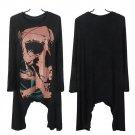 Punk Goth Women Long Sleeve Skull Print Long Casual Top T-Shirt Tee Blouse HC
