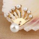 NEW Women Fashion Fan Fan-Shaped Earring Stud Imitation Pearl Earrings HC