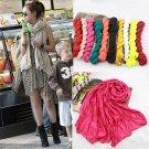 Fashion Voile Women Ladies Pure Colour Scarf Neck Soft Warm Shawl Scarf HC