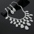 Women's Rhinestone Crystal Bib Necklace+ Earrings Sets Bride Jewelry Wedding HC