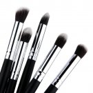 5 pcs Silver Black Soft Synthetic Small Blending Foundation Concealer Brush HC