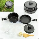 8pcs Outdoor Camping Hiking Cookware Backpacking Cooking Picnic Bowl Pot Pan HC