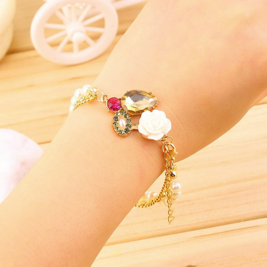 Pretty Women Girl Charming Multilayer Pearl Flower Rhinestone Chain Bracelet HC