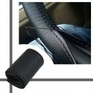 DIY PU Leather Car Auto Steering Wheel Cover With Needles and Thread Black HC
