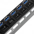 7Ports USB 3.0 Hub with On/Off Switch+US/EU AC Power Adapter for PC Laptop HC