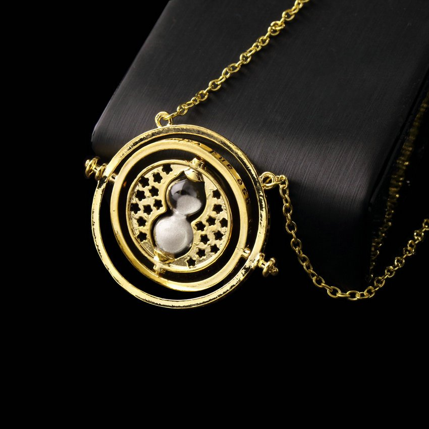 Harry Potter Hermione Granger Rotating Time Turner Necklace Gold Hourglass HC